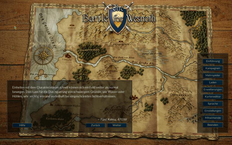 StartBildschirm Battle for Wesnoth